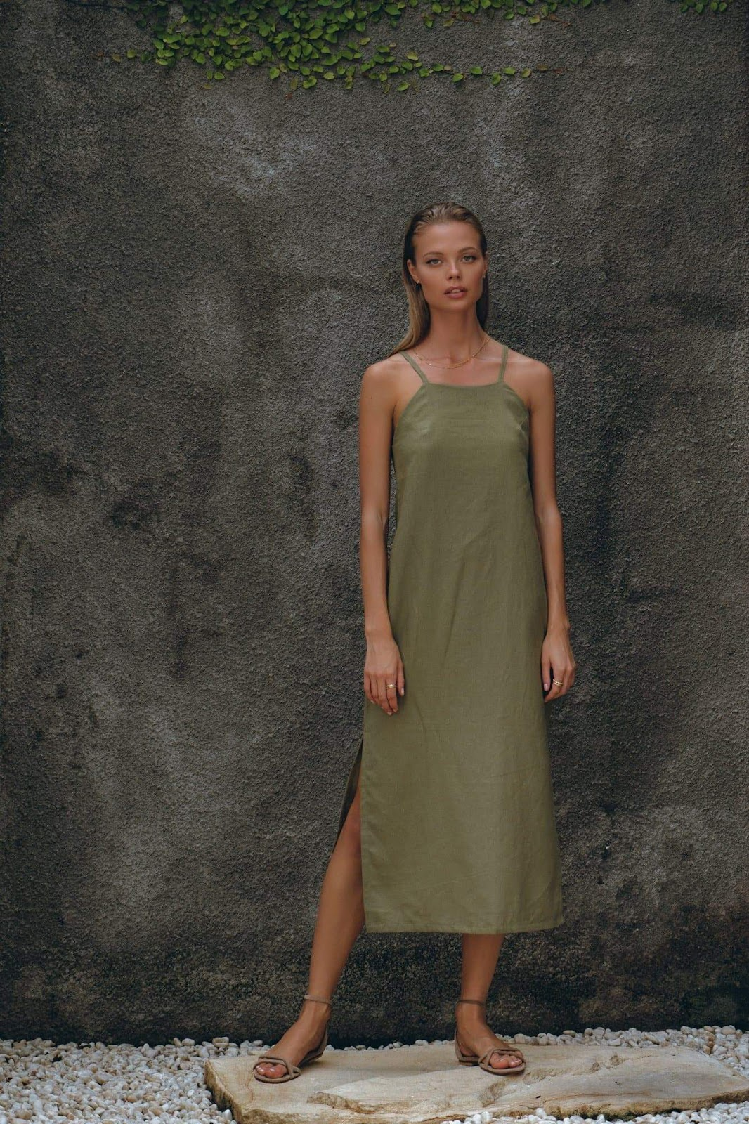 Linen Midi Dress in Oat and Olive