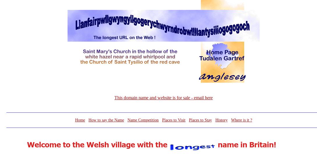 Самое длинное доменное имягородка в Уельсе