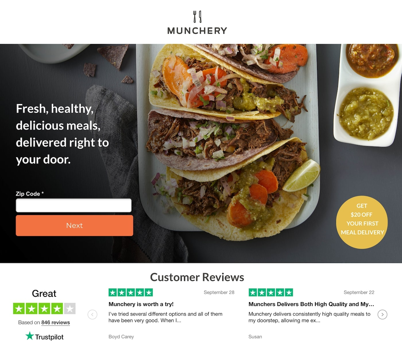 Great landing pages Munchery