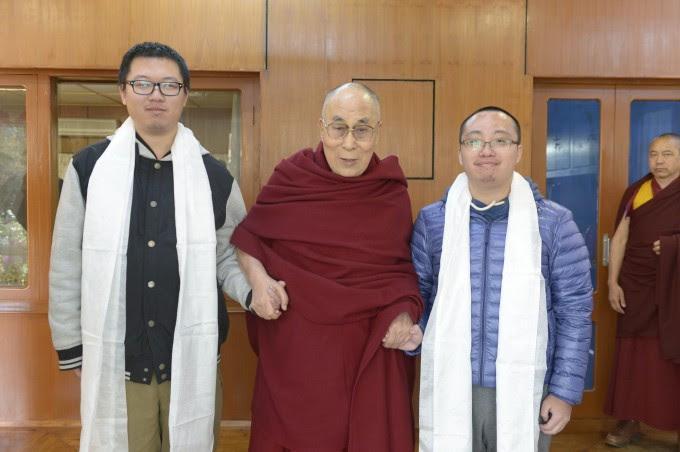 松楠与张树人在达兰萨拉觐见达赖喇嘛尊者  2017年3月10日