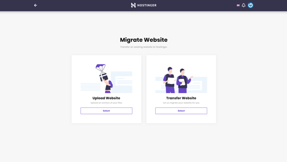 Migración del sitio web en Hostinger