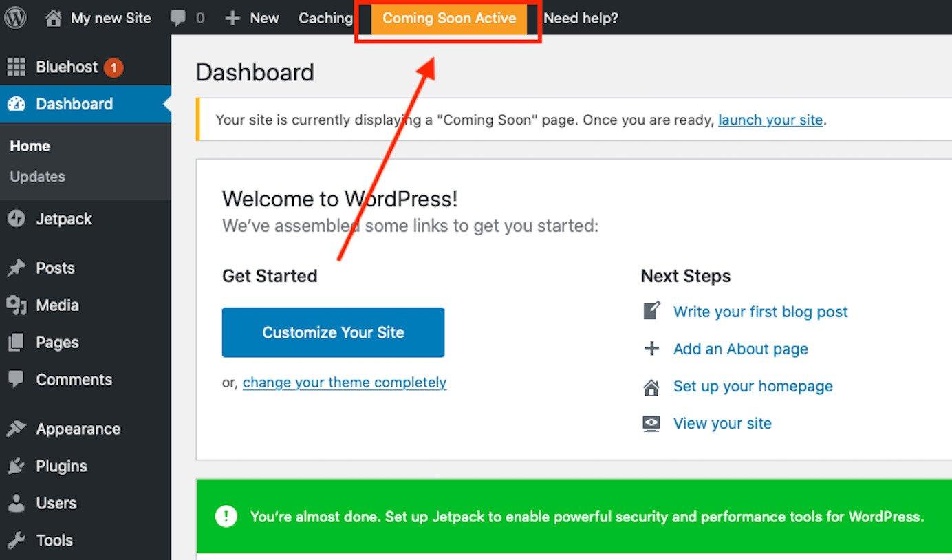 launching wordpress website coming soon live