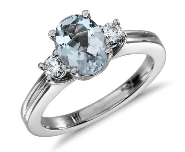 Aquamarine and Diamond Three Stone Ring from Blue Nile