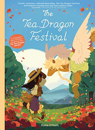 Their is a black girl wearing a straw hat  and a white top with purple pants and a satchel in a feild of flowers. She has long dark hair and is face to face with a tan colored dragon who has spots and white wings, he's also wearing a tan top and purple pants. They are both set against green trees and a blue sky.