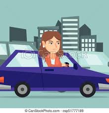 Image result for cartoon Young girl driving blue car
