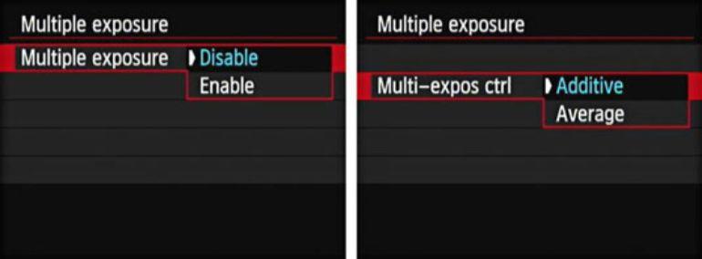 Canon cameras menu
