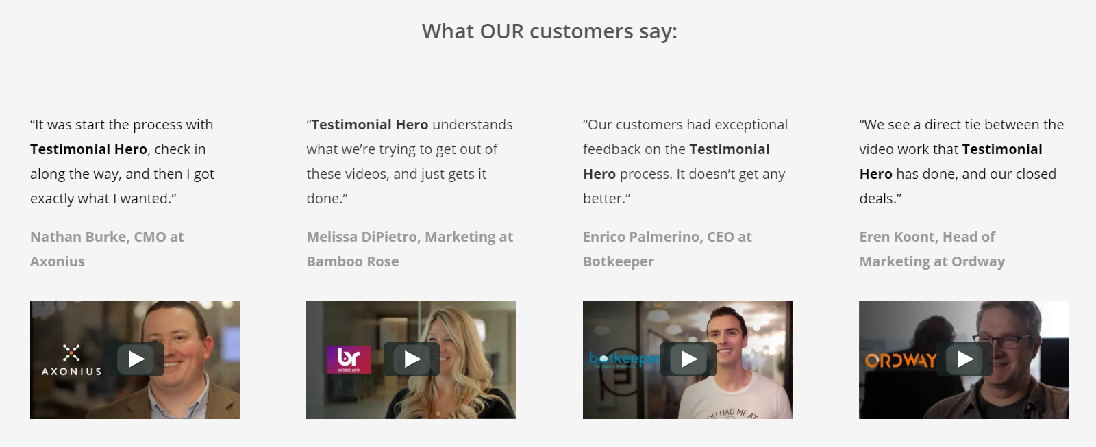 Testimonial Hero shows B2B customer testimonial videos.