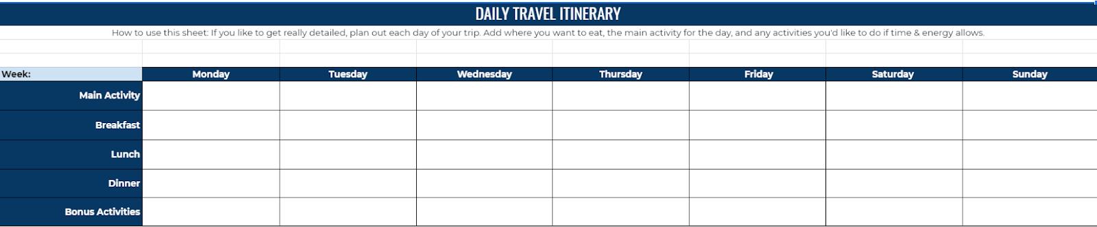 Travel daily itinerary spreadsheet