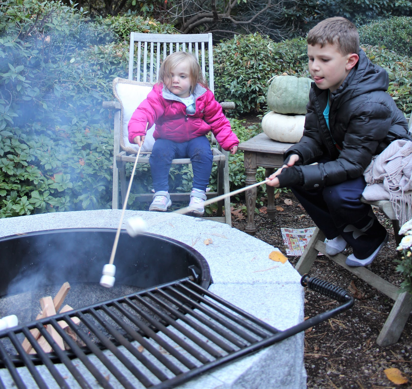 Kids roasting marshmallows by the fire pit