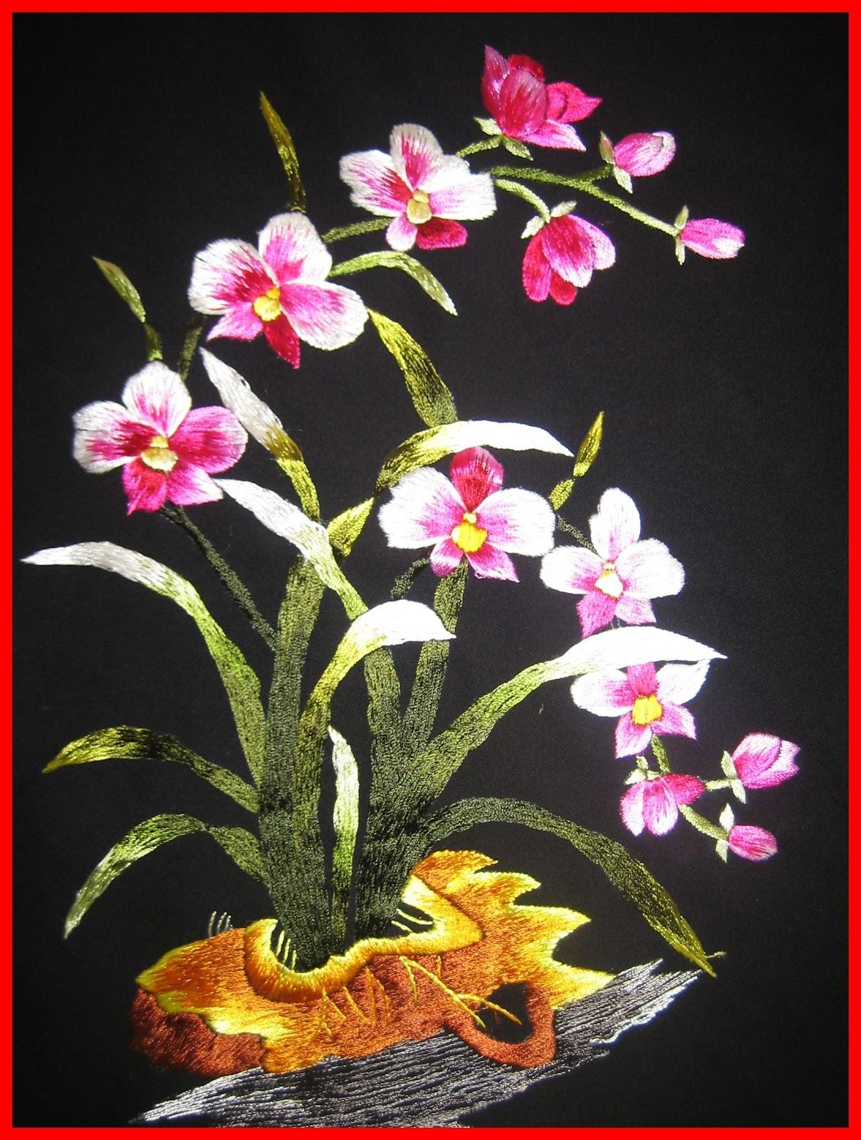Tranh thêu hoa lan và ý nghĩa đặc biệt trong phong thủy 10