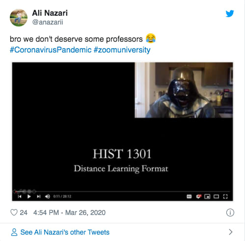 Even Darth Vader is all up in the online learning.