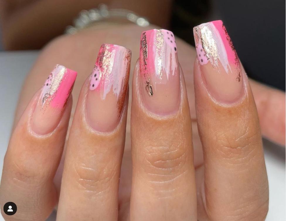 pink paint swipe nail art