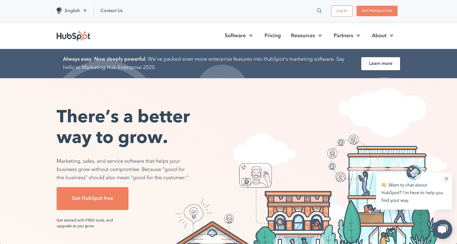 Hubspot's home page
