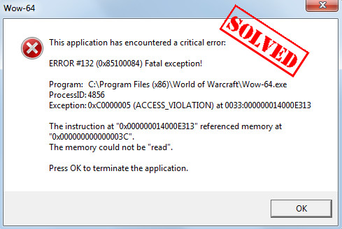 Wow Error 132 Fatal Exception