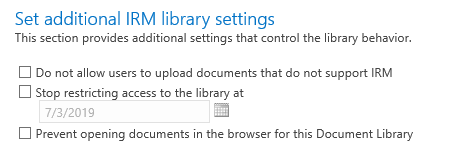 Set Additional IRM library settings