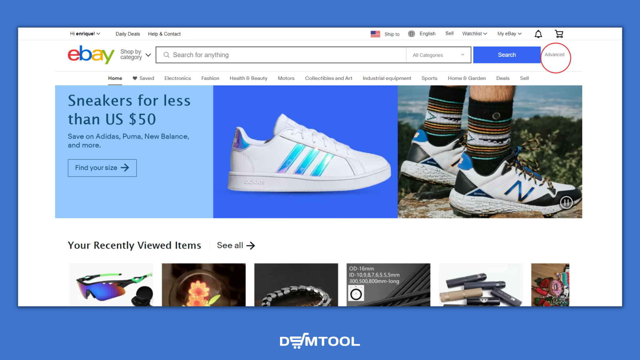 how to access eBay Advanced Search