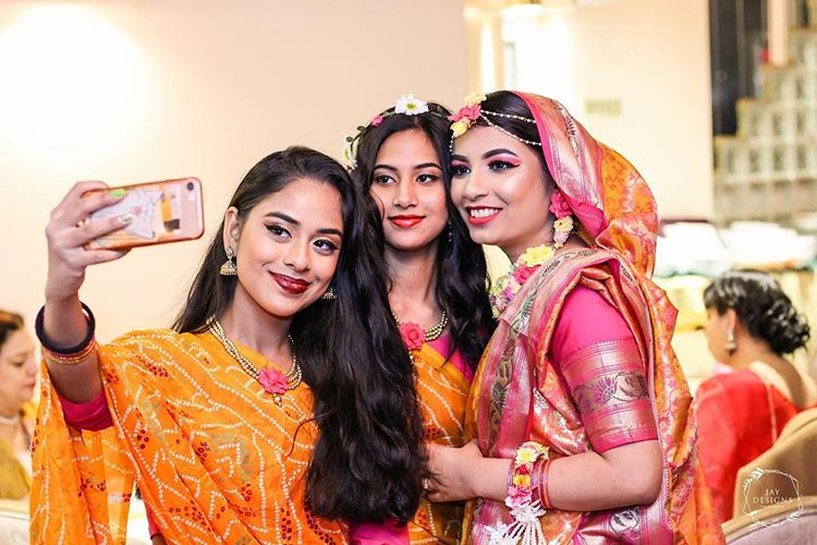 pakistani girls taking selfie on a wedding