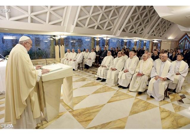 Pope Francis during Mass in the Santa Marta chapel - EPA