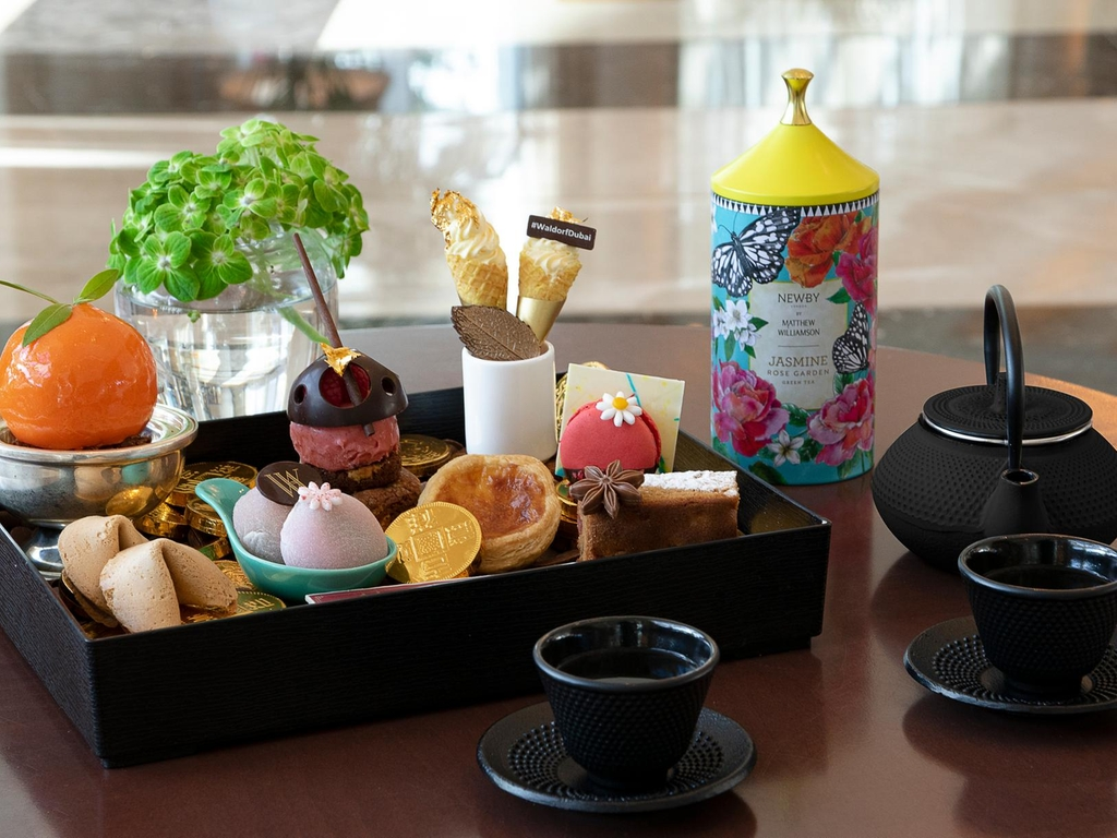 A Chinese-style afternoon tea at Waldorf Astoria Dubai Palm Jumeirah. Supplied