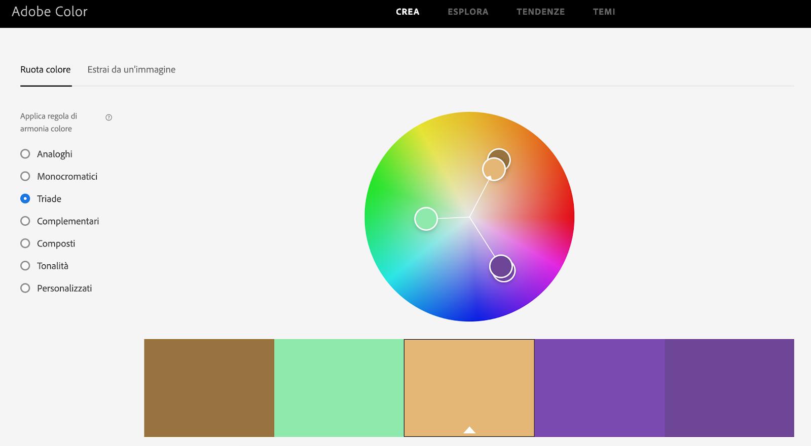 Adobe Color è uno strumento gratuito per trovare palette di colori armoniche per le tue slide PowerPoint.