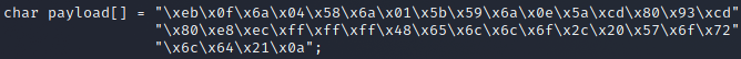 a C-style character array buffer containing the payload code.