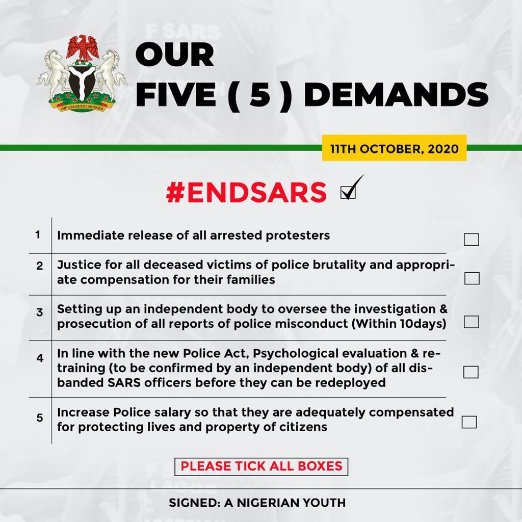 #EndSars Demainds.