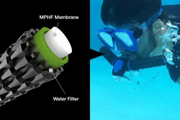 branquias artificiales inventadas que nadan bajo el agua