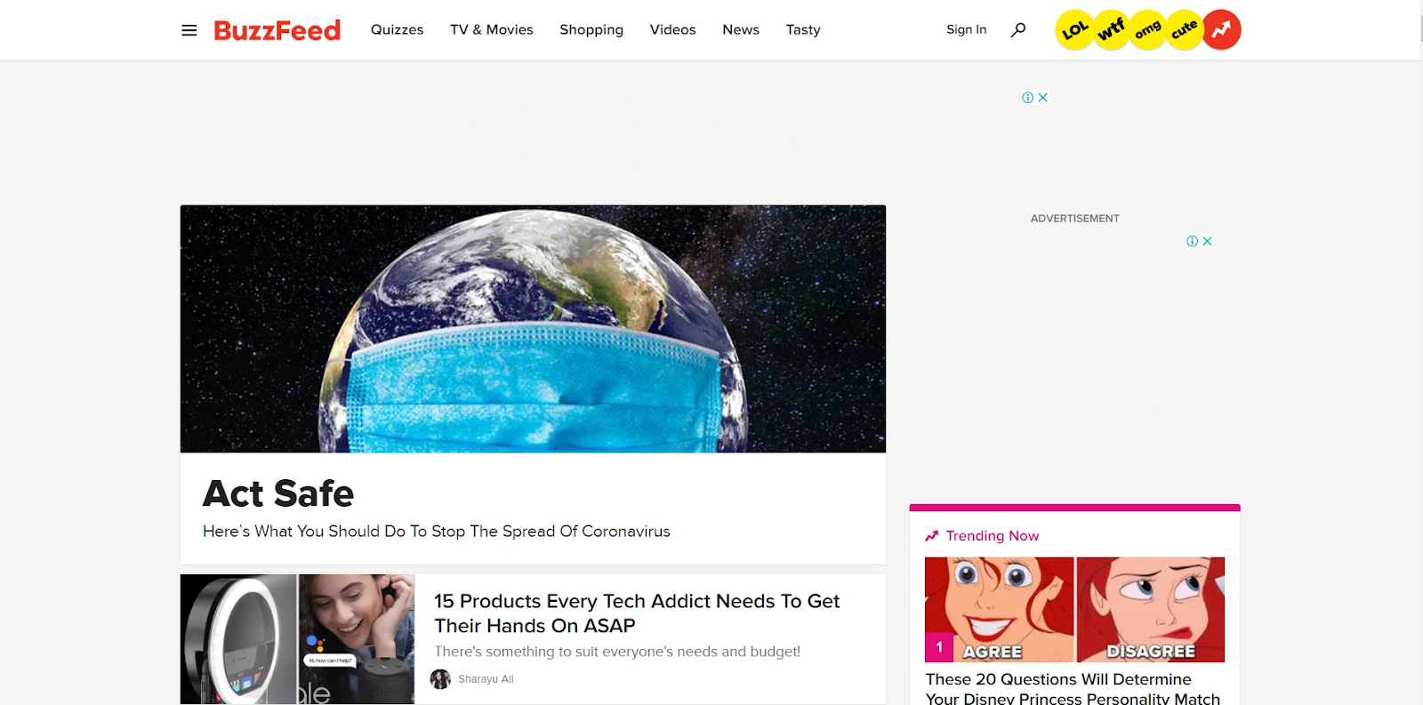 BuzzFeed homepage on desktop