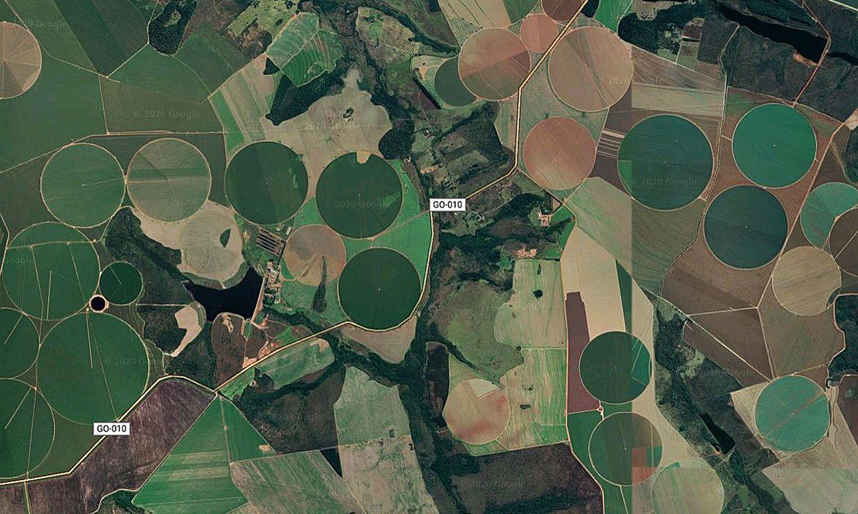 Mapeamento de plantações de soja pode ajudar produtores na prevenção de problemas climáticos. (Fonte: Google Maps)