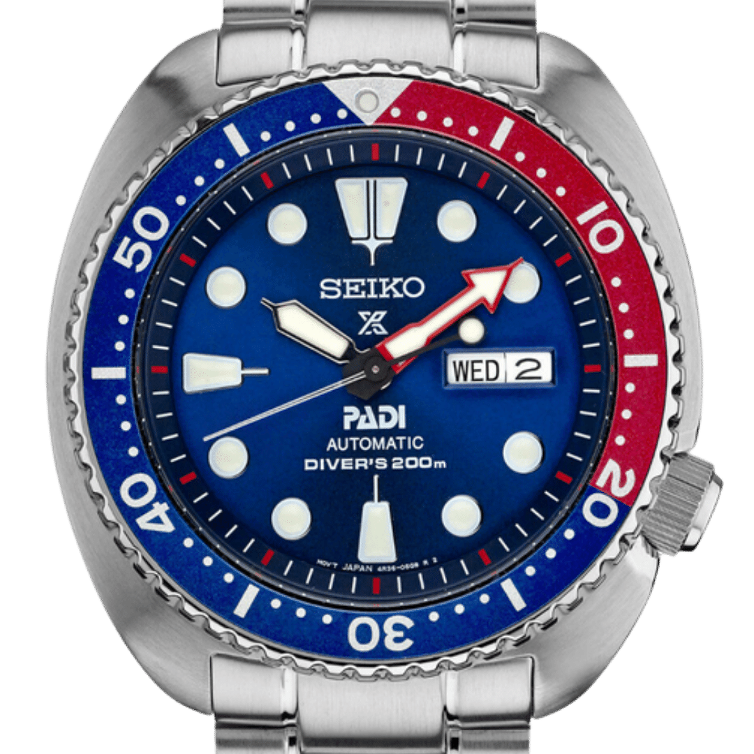 Seiko Turtle watch featuring round markers