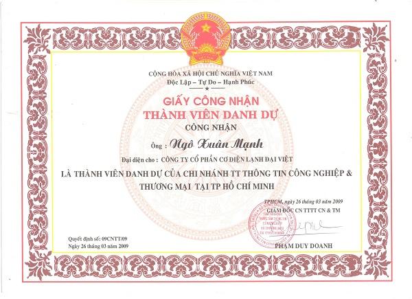 Thành viên danh dự của Trung tâm Thông tin Công nghiệp và Thương mại thuộc Bộ Công Thương TP. Hồ Chí Minh.