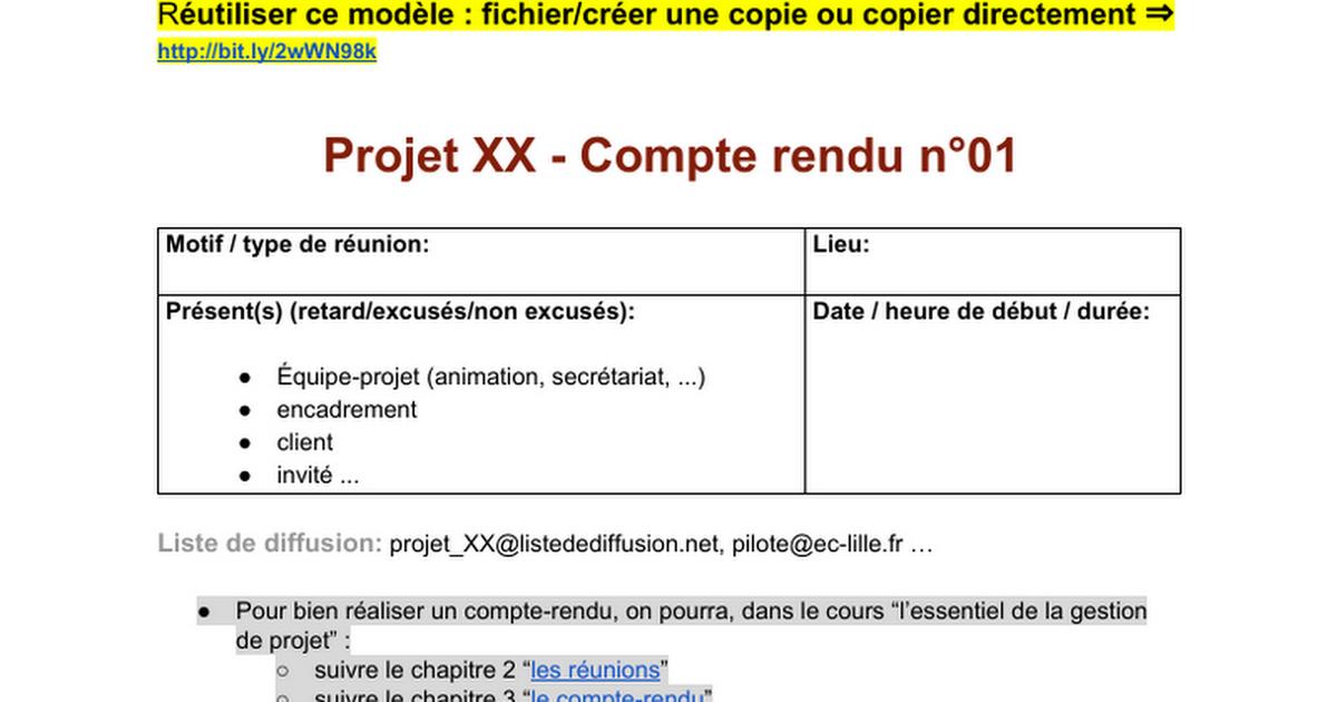 Modèle de compte-rendu de réunion gestiondeprojet.pm Modèle public - Google Docs