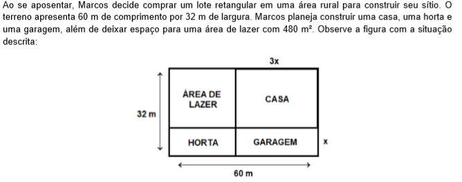 Sabendo que o comprimento da casa (3x) é o triplo da largura da garagem (x), com x em metros, conclui-se que o perímetro da parte destinada para a horta é igual a