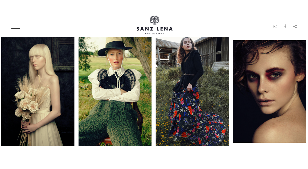 Screenshot of photography website design for Sanz Lena
