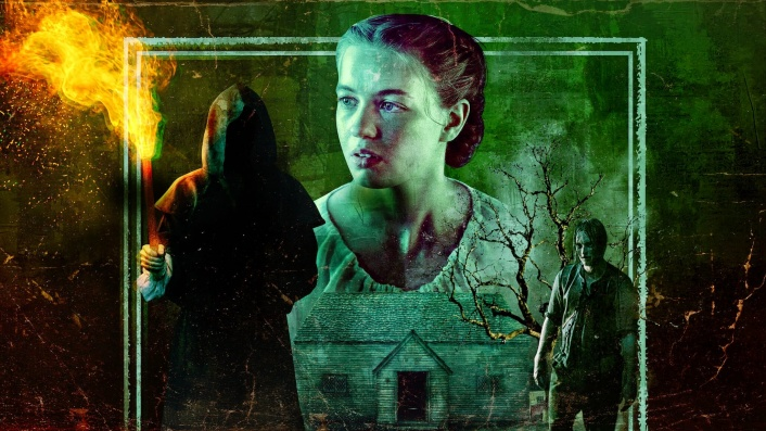Promotional image for Netflix's Fear Street. A young woman in a white blouse is at the centre, flanked by two darkened figures, and a ramshackle wooden house.