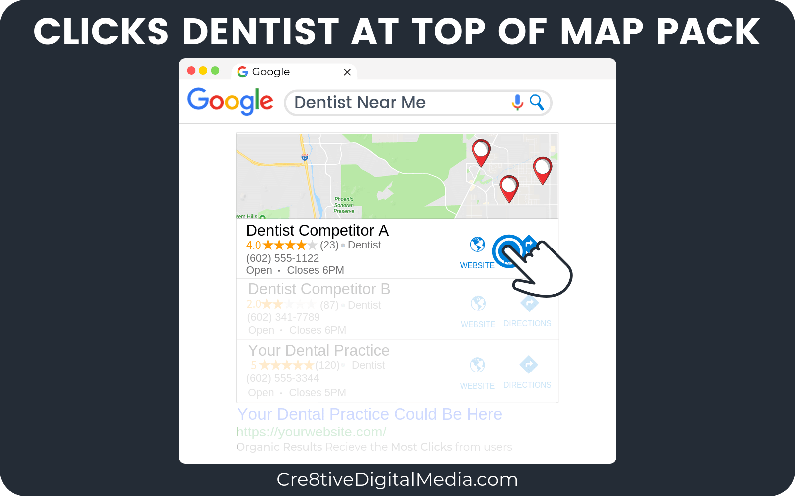 User clicks Dentist at top of Map Pack
