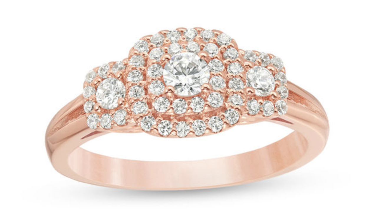 rose gold double cushion frame ring
