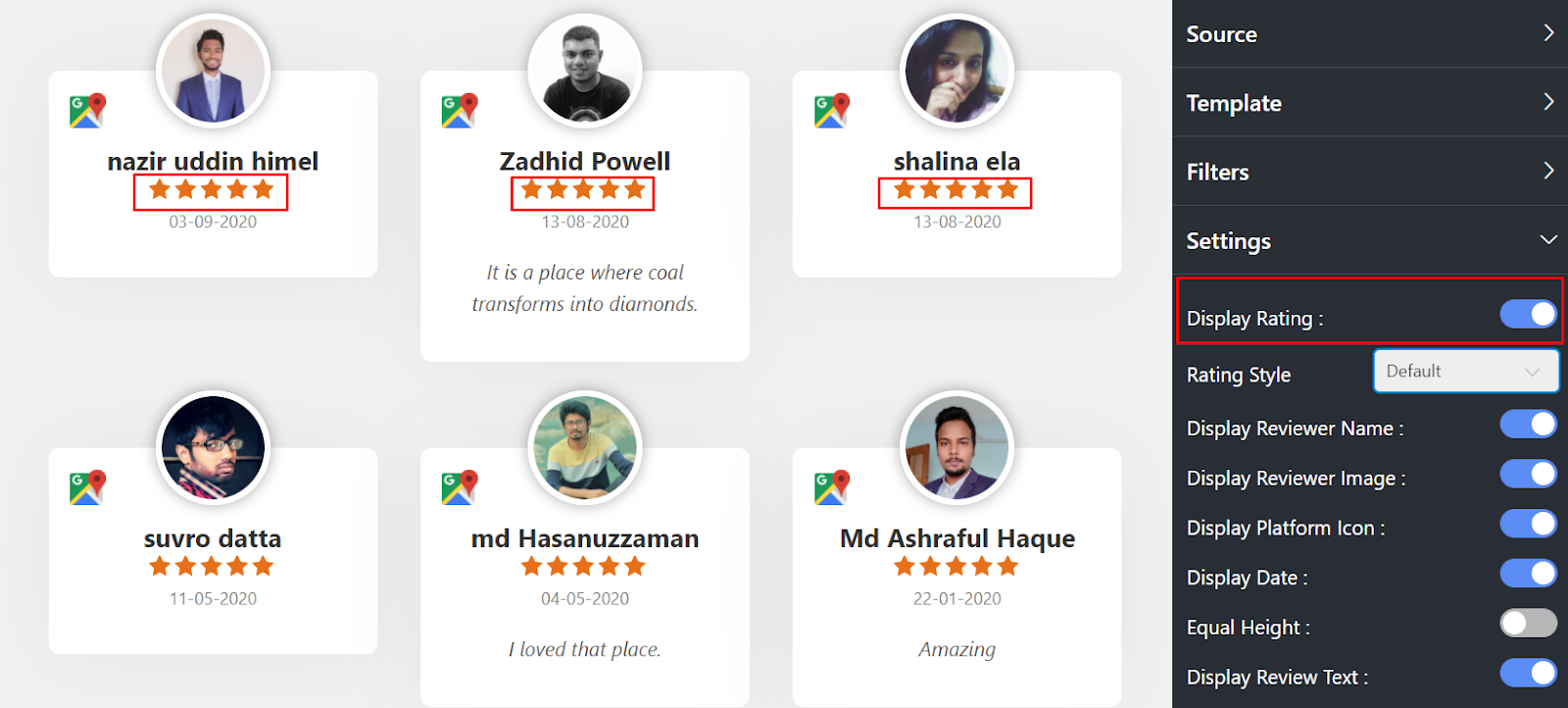 Google reviews settings display rating