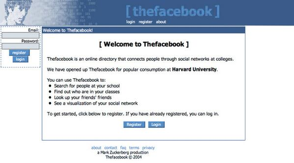 The History of Web Design the facebook original user interface