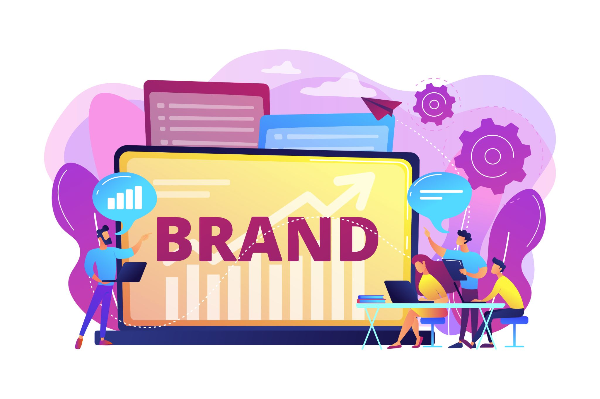 An infographic showing people working on a brand.
