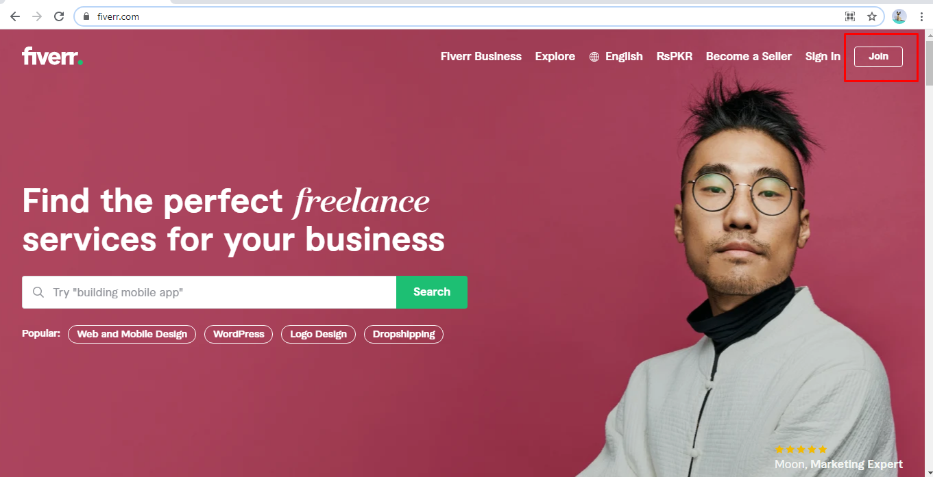 screenshot of the Fiverr landing page with Join button highlighted in the corner. Freelancing on Fiverr.