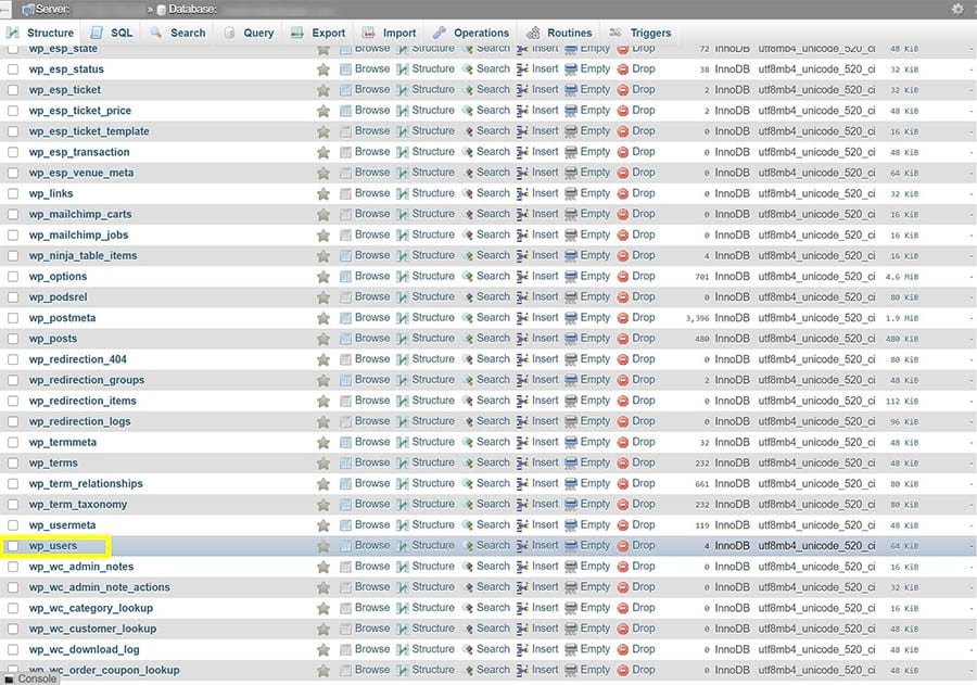 The wp-users table in phpMyAdmin.