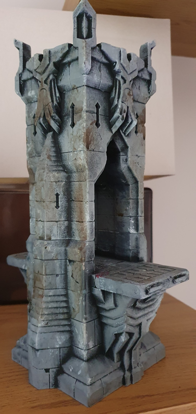 3D printed plastic archway/walkway, painted grey and black, with black and brown washing and haphazard light grey.  There is also some fake blood.