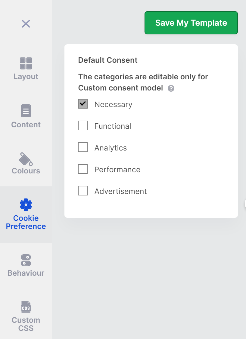 Granular consent settings for cookies by CookieYes