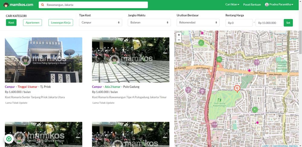 Aplikasi Cari Kost Online - Mamikos