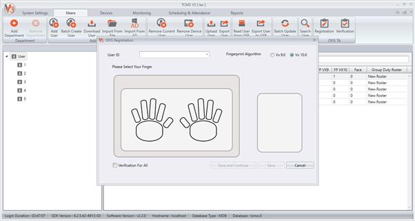 OFIS Scanner for Fingerprint Template Registration and Time