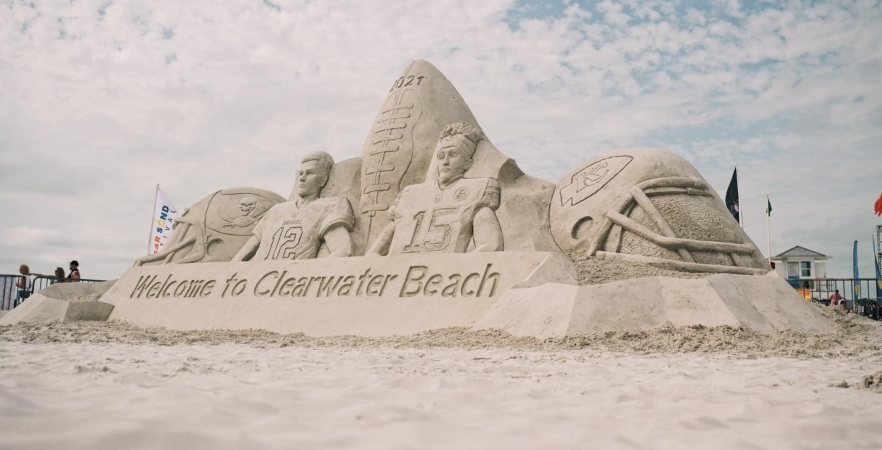 sand sculpture on Clearwater Beach