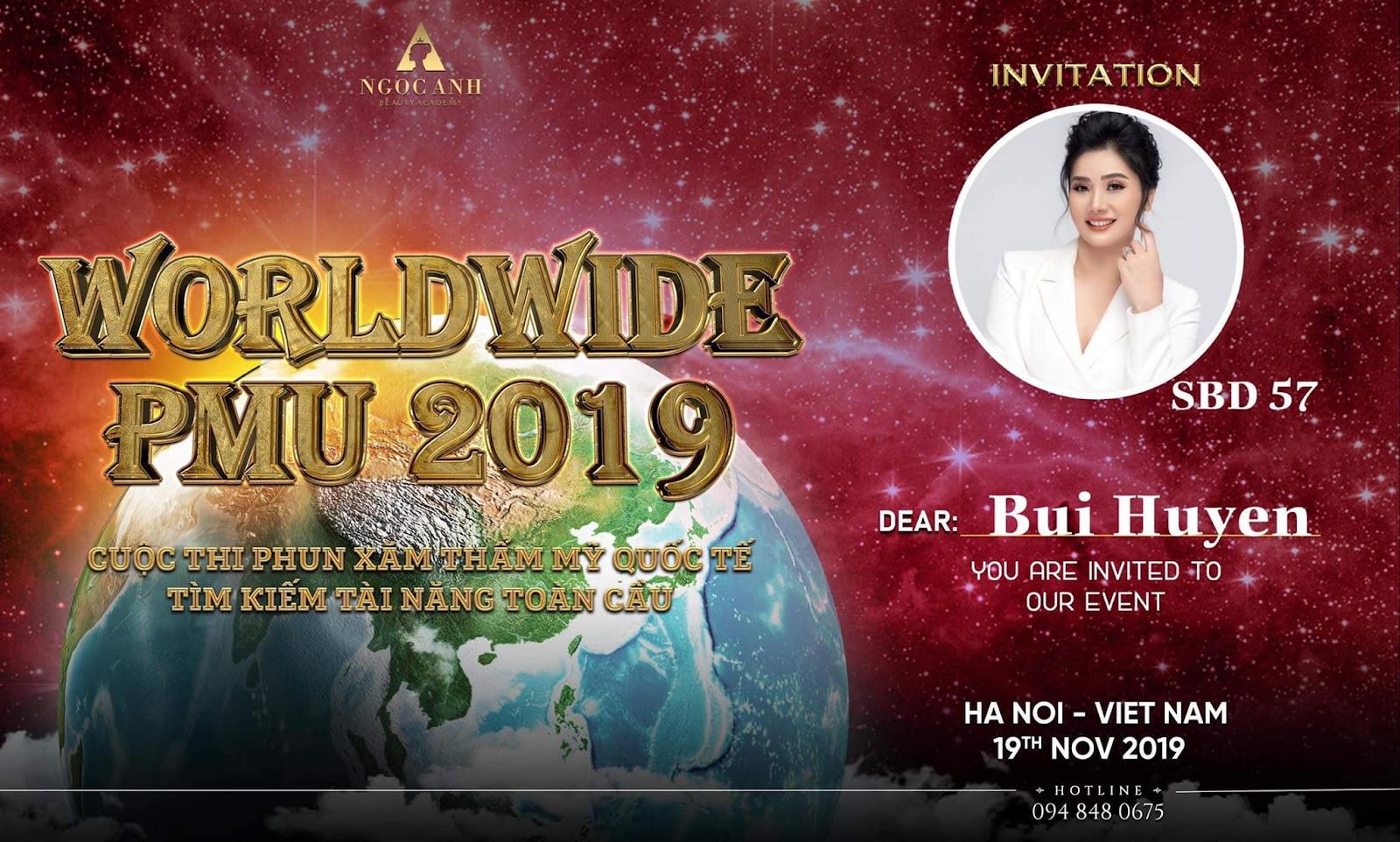 Chị Bùi Huyền tham gia cuộc thi phun xăm thẩm mỹ quốc tế.