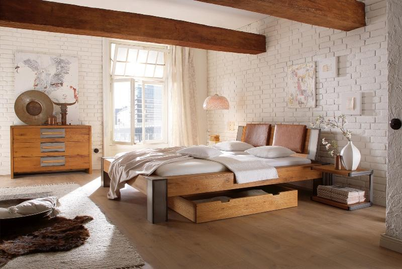 solid wood bed-bormio-hasena-oak-line-wild-wildiche-nature-buerstet-fuesse-iron-20-cm