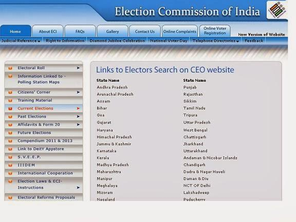 Online method to check name in voter list